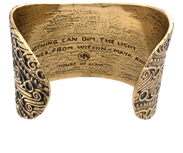 Bracelet - Strength & Courage Parang Batik Cuff Bracelet in Bronze | Handcrafted Jewelry | Made in Bali