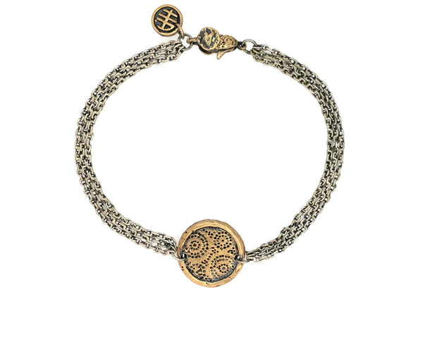 Strength & Courage African Fabric Protection Bracelet in Bronze