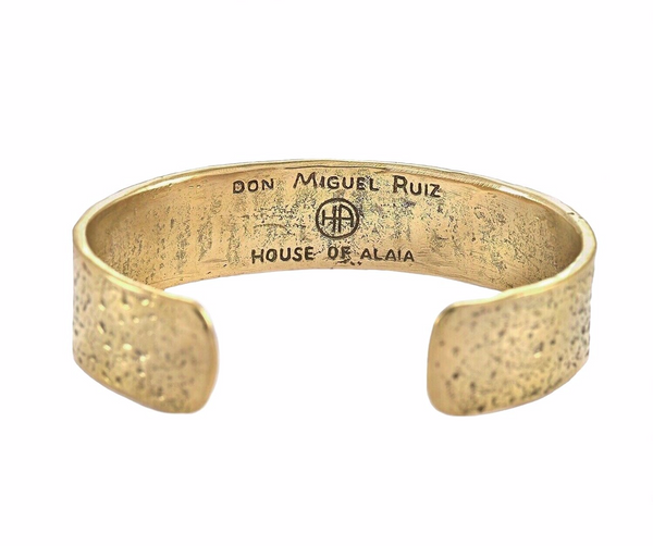 The Four Agreements Cuff in Brass | House of Alaia | Handcrafted Jewelry | Made in Bali
