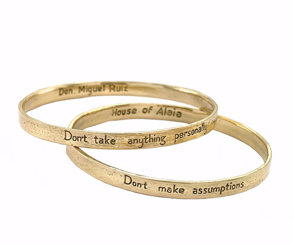 "The Four Agreements ""Reminder Bangle Set"" Brass"