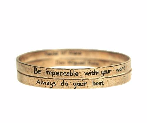 "The Four Agreements ""Reminder Bangle Set"" Bronze"