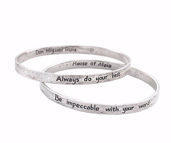 "The Four Agreements ""Reminder Bangle Set"" Silver"
