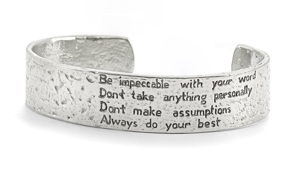 "The Four Agreements ""Reminder Cuff"" Silver"