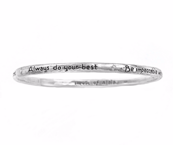 "The Four Agreements ""Reminder Bangle"" Sterling Silver"