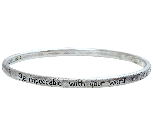 The Four Agreements Single Bangle Sterling Silver_The Four Agreements Jewelry_don Miguel Ruiz_Inspirational Jewelry