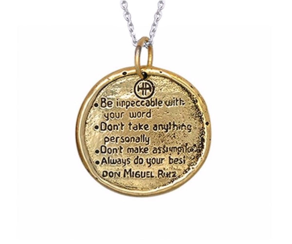 The Four Agreements Traveller's Coin Necklace Brass