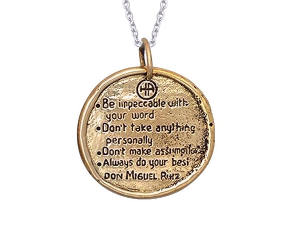 The Four Agreements Traveller's Coin Necklace Bronze