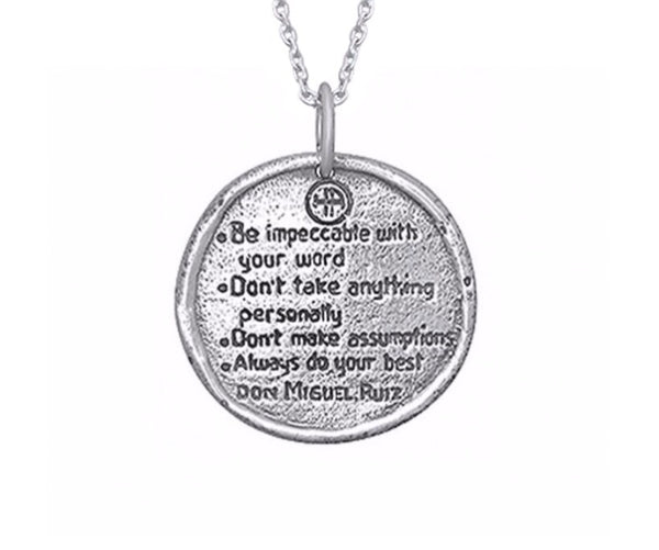 The Four Agreements Traveller's Coin Necklace Sterling Silver