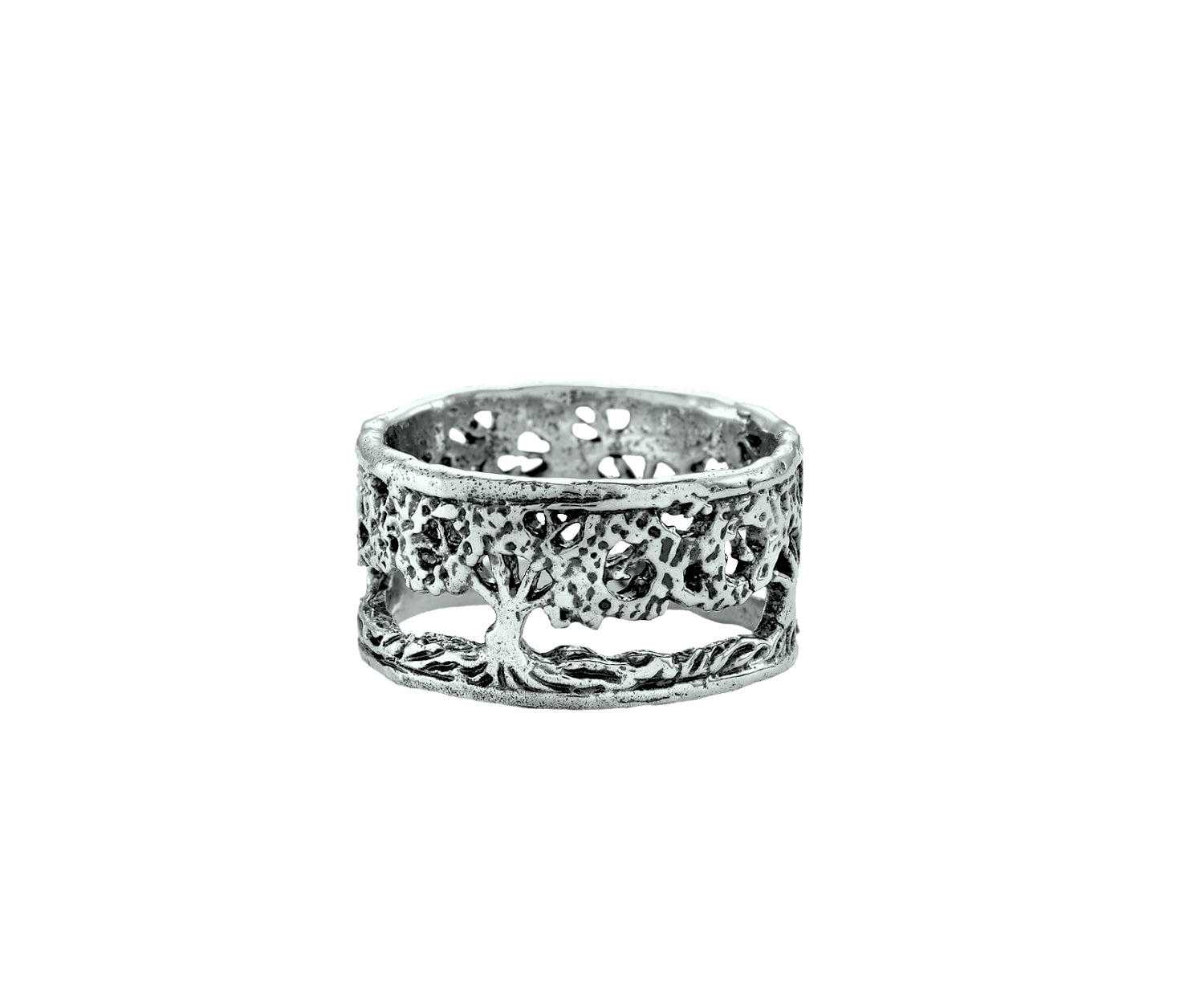 Filigree Tree of Life Band Ring in Sterling Silver