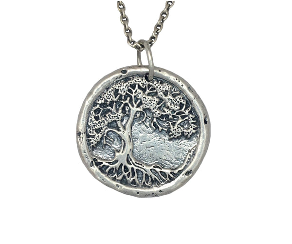 Tree of Life Traveller's Coin Necklace in Sterling Silver