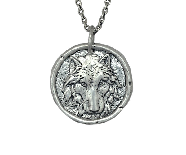 PERSONAL POWER Wolf Traveller's Coin Necklace in Sterling Silver