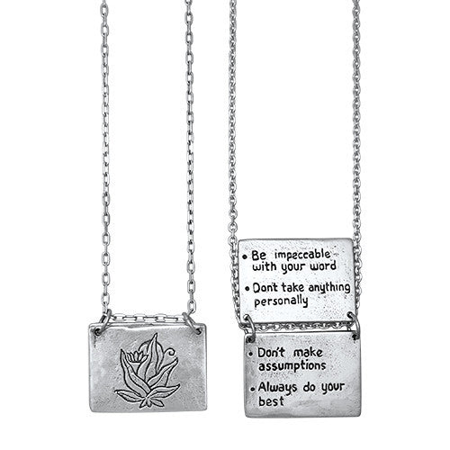 The Four Agreements Book Necklace Sterling Silver