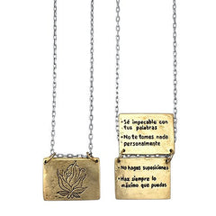 Necklaces - The Four Agreements Book Necklace In Spanish