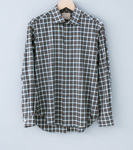 C'H'C'M' 'Covered Placket Shirt' (Brown & Green Slub Cotton)