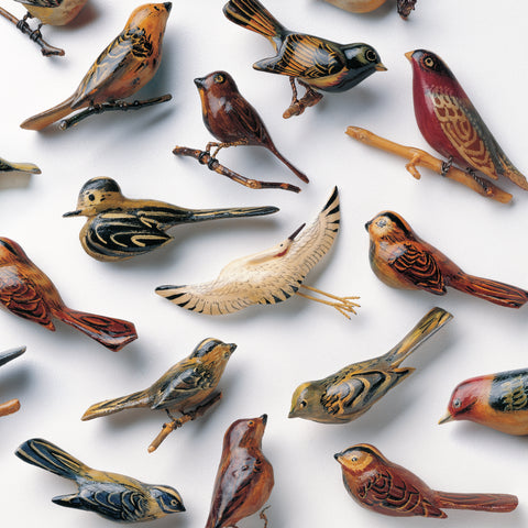 "Kishi Bashi - Omoiyari - Cover photo: carved and painted scrap-wood bird pins by artists Himeo Fukuhara and Kazuko Matsumoto reprinted from- ""The Art of Gaman: Arts and Crafts from the Japanese American Internment Camps 1942-1946,"" (2004, Ten Speed Press) with the permission of author Delphine Hirasuna, designer Kit Hinrichs, and photographer Terry Heffernan."