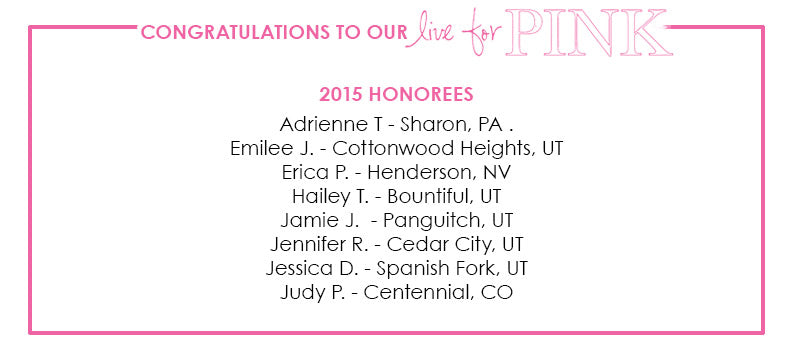 Live for Pink - honorees announced