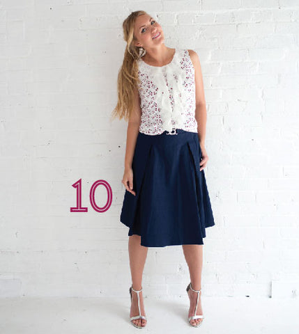 Chiffon Ruffle Top and Belted Cotton Skirt