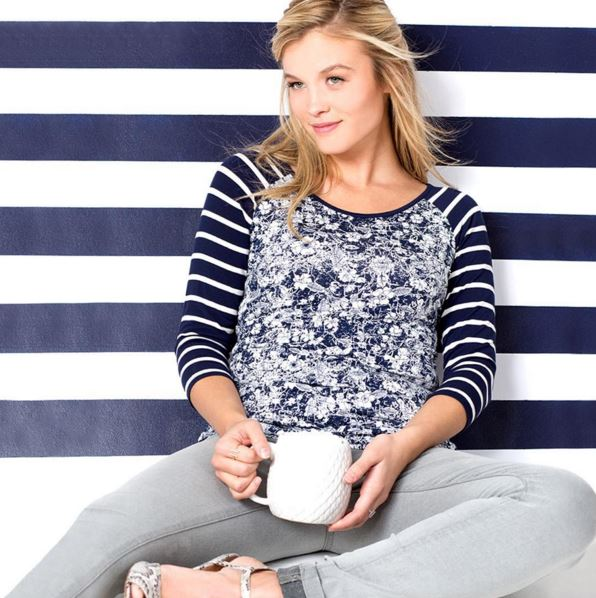 Stripes and Floral with our Heather Dot Top in Cracked Vines