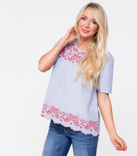 1/2 Sleeve Embroidered Yoke YD Stripe Babydoll Top