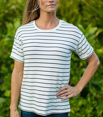 Rolled Cuff Stripe Top