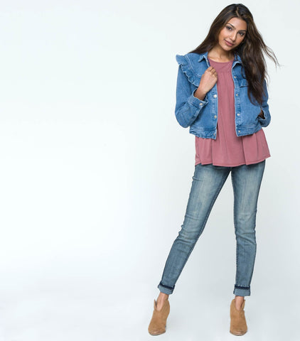 Cropped Ruffle Front Denim Jacket - Medium Blue