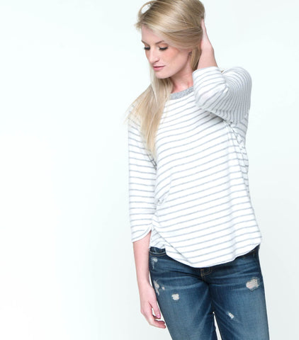 3/4 Sleeve Striped Fleece Top with Lace Up Detail
