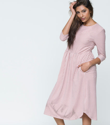 3/4 Sleeve Striped Babydoll Dress with Pockets - Mauve & Ivory