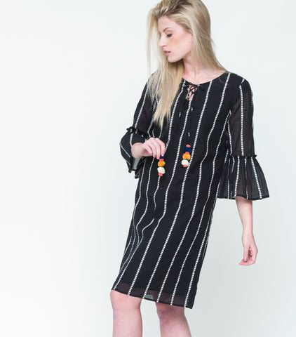 Lucky Striped Dress - Black
