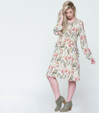 Long Sleeve Ruffle Waist Keyhole Dress - White Floral