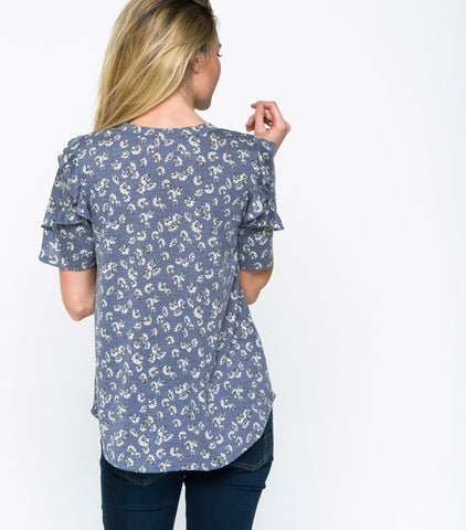 Short Sleeve Printed Top with Ruffle Shoulders - Denim