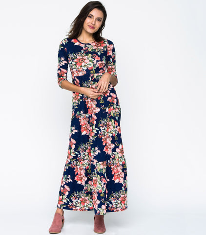 Prairie Dream Dress - Navy Floral