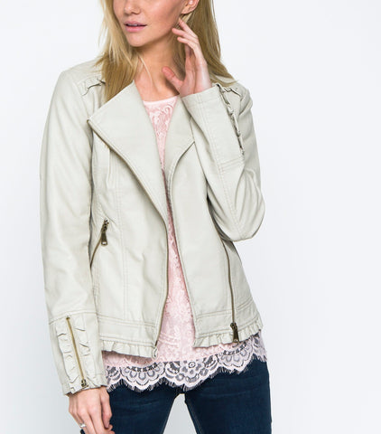 Ruffle Rich Jacket - Bone