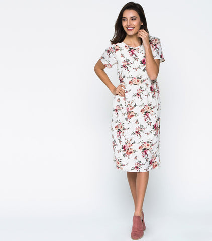 Short Sleeve Woven Floral Fit n Flare Dress - Ivory Floral
