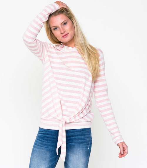 Striped Tie Front Hoodie