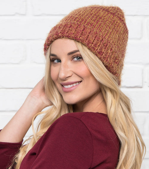 Two Tone Eyelash Knit Beanie