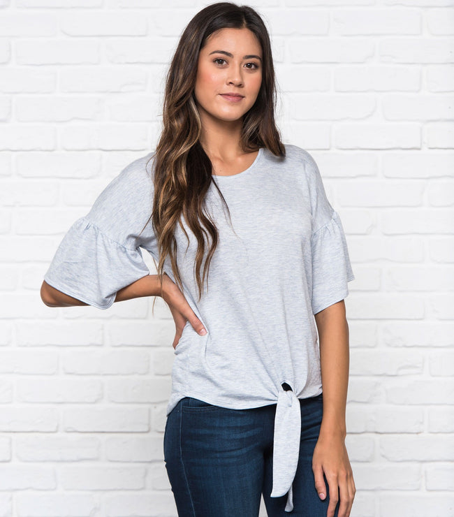 Flare Sleeve Front Knot Top