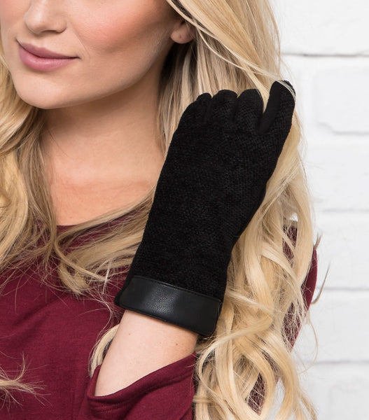 Leather Trimmed Chenille Gloves