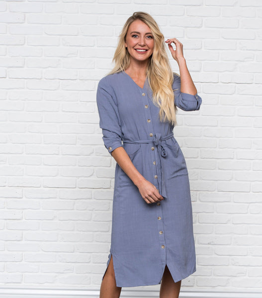Button Down V-Neck Dress