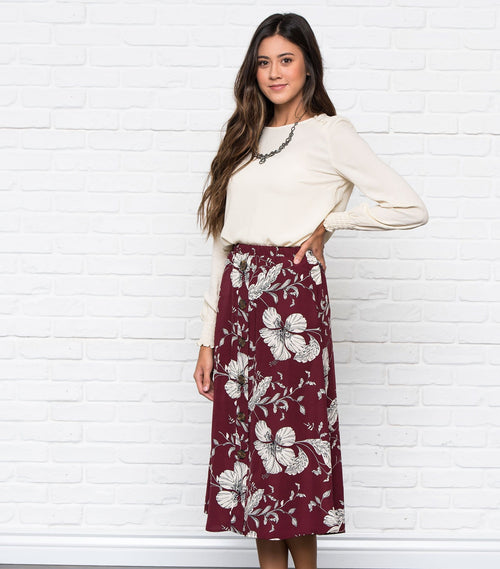 Printed Button Front Skirt