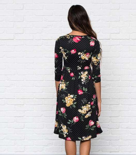 3/4 Sleeve Layered Print Dress