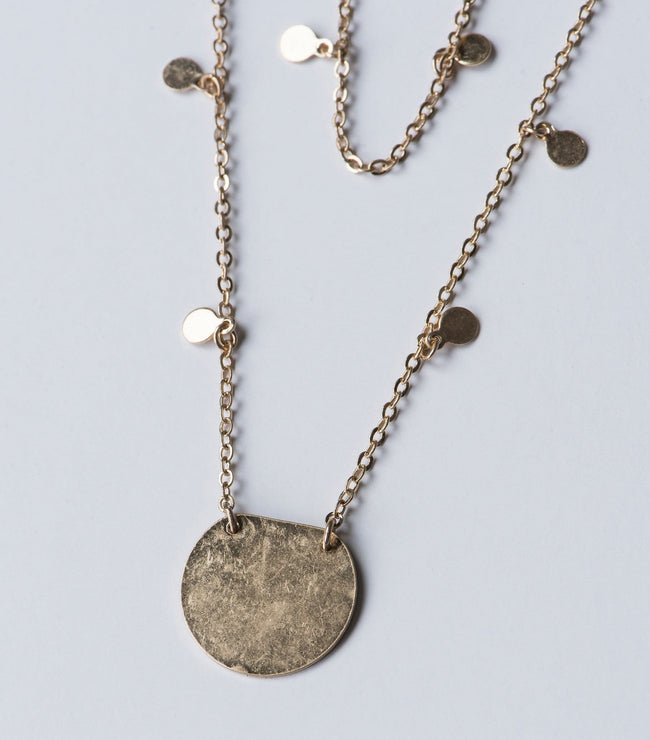 Gold Disc Double Strand Necklace