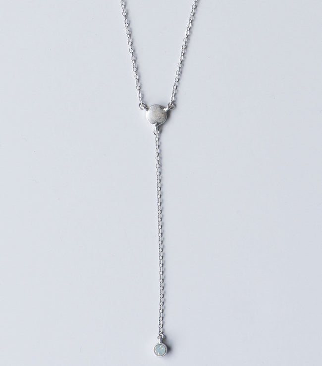 Silver Disc Y-Chain Necklace