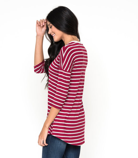 Drop Shoulder Stripe Top
