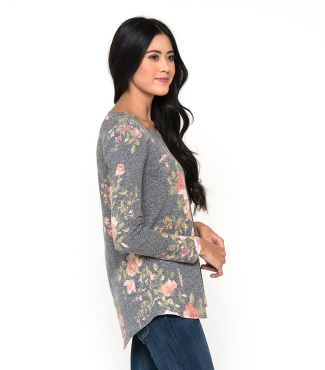 Long Sleeve Heathered Floral Tee