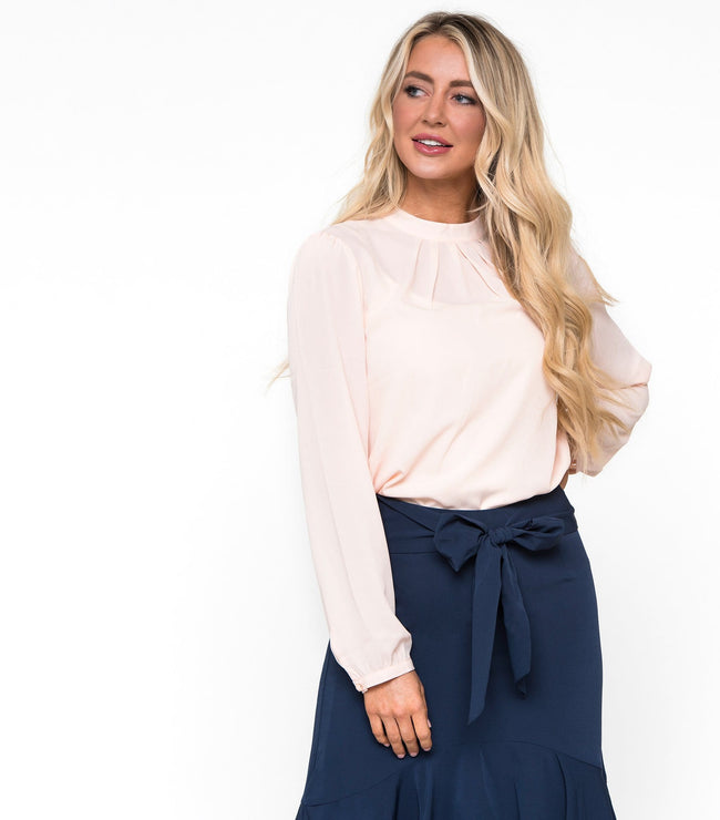 High Neck Pleat Front Blouse