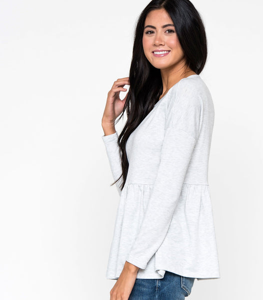 Terry Heathered Peplum Top