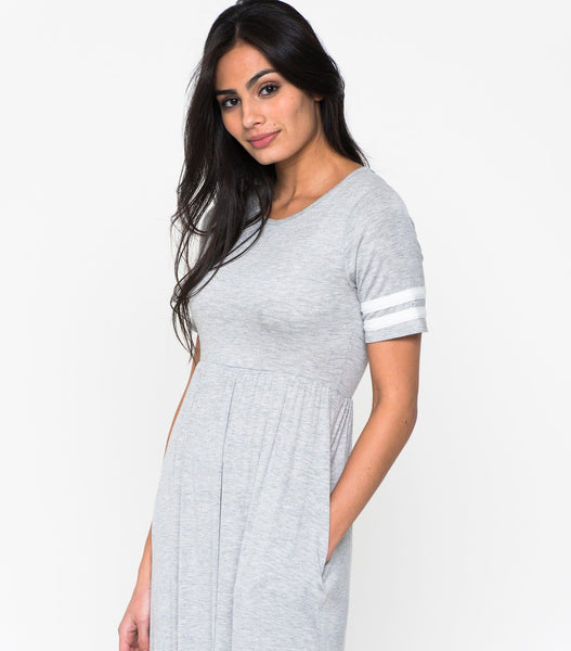 Short Sleeve Rugby Sleeve Knit Maxi Dress