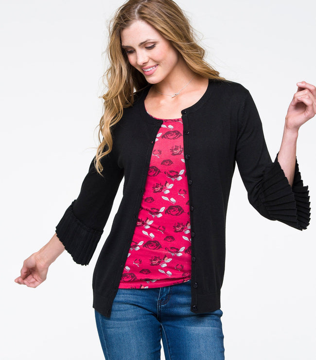 Pleated Sleeve Cardi