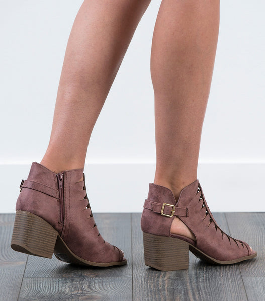 Criss Cross Cutout Ankle Boots