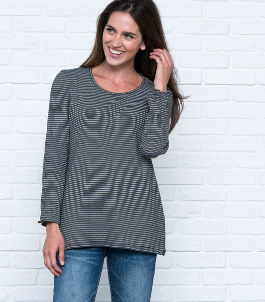 Drawstring Sleeve Striped Scoopneck Tee